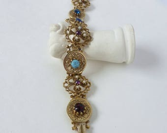 Vintage 1960's Gold Round Link Bracelet with Pierced Club Design and Pearl, Blue and Purple Gems