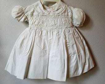 Vintage 50s Girls White Smocked Dress with Peter Pan Collar by C.I. Castro - Size 12 months- New, never worn