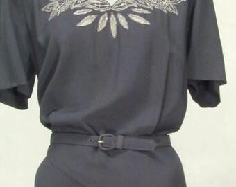 1940s Dress Plus Size Beaded Sheer Neckline Black Crepe Vintage Formal