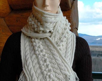 "Knit womens'/ladies' scarf in aran pattern with cables and bobbles, hand knit in pure fine Merino ""Gambier Island"" READY TO SHIP"