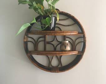 Vintage Bamboo Shelf - 2-Tier Shelf - Round Wall Shelf