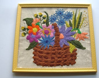 "vintage crewel embroidered still life floral bouquet basket on linen, framed, 13"" x 14"" x 1/2"" deep, ready to hang"