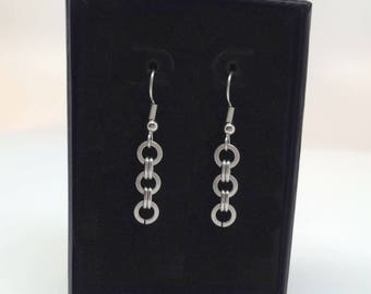 Stainless Steel Earrings, Silver Circle Dangle, Gift for Sister, Drop Earrings, French Hook