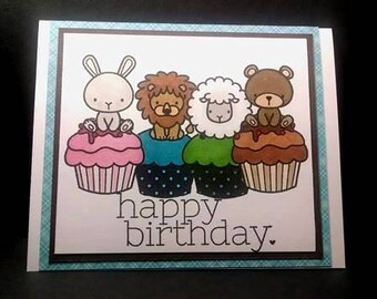 Happy Birthday Card with Hand Stamped Animals Sitting on Cupcakes, Animal Birthday Cards, Hand Stamped Birthday Card, Mama Elephant Stamps