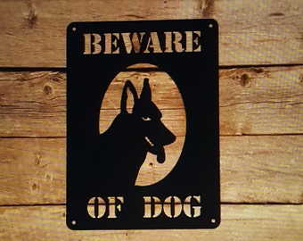 Beware of Dog Sign, Driveway Sign, Dog Silhouette, German Shepherd Sign, Fence Decor, Yard Signs, Custom Metal Sign, Dog Lover Gift