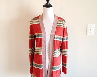 Vintage 1960s Fly Away Metalic Striped Cardigan Mid Century