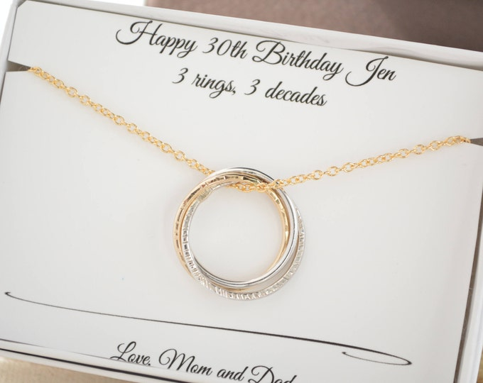30th Birthday gift for her, 3rd Anniversary gift, 3 Sisters necklace, 3 Best friend gifts, 30th Birthday gifts ideas, 3 Rings necklace