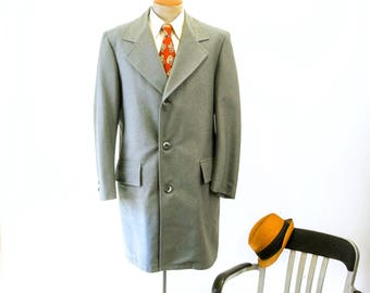 1970s Mens Gray Overcoat Vintage Mens Long All Weather Trench Coat with Removable Winter Lining by SEARS TravelKnit - Size 42 (LARGE)