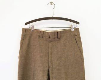1970s Men's Tweed Wool Pants Vintage 70s Brown & Tan Patterned Knit Wool Pants / Trousers Size MEDIUM