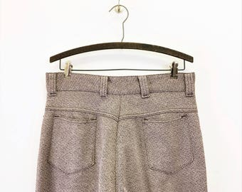 1970s Disco Era Men's Knit Polyester Pants Vintage 70s Leisure Suit Era Brown & Beige Knit Polyester Pants / Trousers - Size MEDIUM