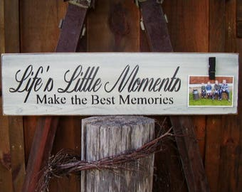 Wood Signs, Family Sign, Life's Little Moments Make The Best Memories, Inspirational,  Rustic Home Decor, Nursery Decor, Best Friend Gift,