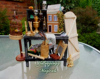 """1/12th dollhouse miniature Homage to """"Hwdits"""", the handy mans workbench"""