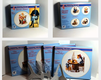 Norman Rockwell Museum 1985 Holiday Set of 4 Plates - Cobbler Lighthouse Keeper's Daughter For A Good Boy The Toymaker