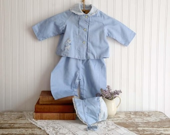 Vintage Girls Overall Set, Blue Girls Jacket and Overall Set, 9 months size, Blue Bonnet, Girls Blue Romper, 1950s Girls Pants and Jacket