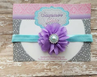 Lavender and Aqua Baby Headband, Infant Headband, Newborn Headband, Baby Headband, Toddler Headband, Pastel Headband, Purple and Aqua
