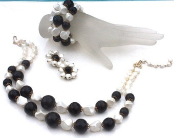 Black & White Necklace, Bracelet, Earrings Parure Set ~ Vintage Multi Strand Choker and Wire Coil Wrap w/ Cluster Clip ons