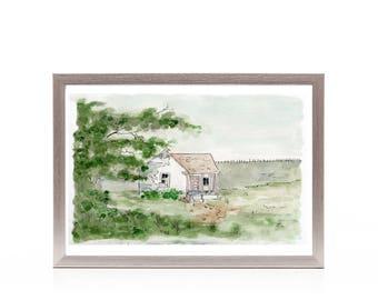 farm house art print, rustic farm house landscape watercolor painting, primitive painting, simple artwork, office decor, gift under 25