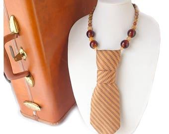 CHEVERE necktie necklace cool feminine necktie tie candee womens necktie italian silk ladies necktie chevron statement necklace trending