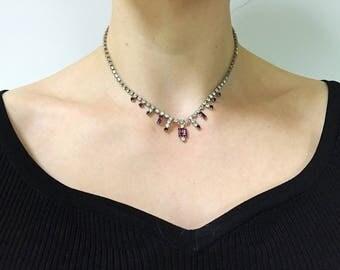 Vintage 1950s Paste Purple Crystal Necklace