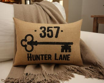 Burlap Pillow / Address Pillow / Home Address / Key Pillow