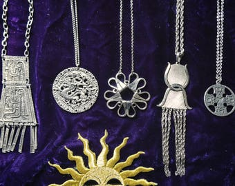 70s vintage deadstock necklaces ! psychedelic 60s hippie rock n roll
