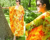 70s Caftan MuMu MAXI DRESS Vintage Woman All Size Summer Garden KAFTAN Lounge Gown Patio Party Print Floral Bouquet Yellow & Orange SunDress