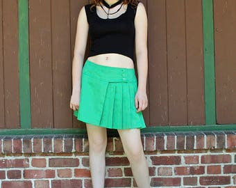 Vintage Mini TENNIS SKIRT Kelly Green 80s Modern Box Pleats SPORTSWEAR Skater Skirt by Lily's of Beverly Hills Sporty Woman's Large Size 14