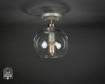 Flush Ceiling Mount | Edison Bulb Light Fixture | Brushed Nickel | Globe Shade