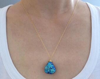 Titanium Blue Druzy Necklace, Druzy Necklace with Gold Filled Chain, Druzy Jewelry, Geode Necklace, Agate Druzy Crystal