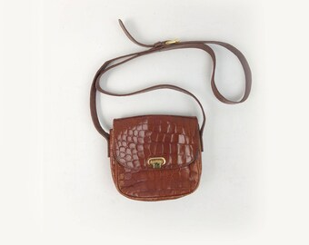 Vintage Small Leather Crossbody Bag -  Essential 80s 90s Structured Brown Leather Purse - Chic Croco Print Flap Front Boxy Bag by Talbots