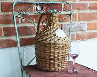 20% OFF SALE from 125: Vintage Torgiano Dry White Wine Demijohn Wicker Green Bottle/Product of Italy