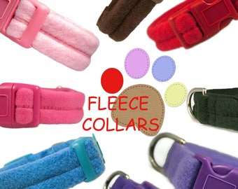 "Fleece Dog Collar 3/4"" or 1"" Comfort Fleece Pink Red Black Blue Brown Purple Dog Collars"