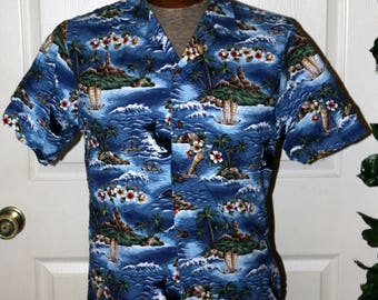 Vintage 1980s RJC Ltd Hawaiian Shirt - Mens Hawaiian Shirt - Size M -  Cotton - Whales - Nautical