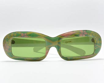 Vintage narrow retro sunglasses green floral motif