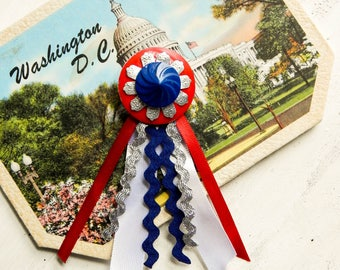 Vintage patriotic brooch / 4th of July brooch / fourth of July / mixed media jewelry / vintage Americana / statement brooch / show ribbon