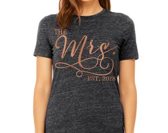 The Mrs 2018 Charcoal Tshirt - Bride Shirt, Bride to be Tshirt, Bride Top,Bridal Shower Gift,Bachelorette Gift,Rhinestone Bride Tank