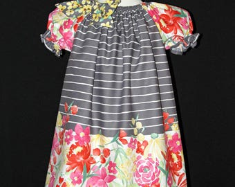 Girls size 4 peasant style dress ready to ship for late summer and fall MADE in the USA