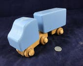 Wooden Toy Truck and Trailer Handmade Natural Hardwood Handcrafted Wood Toy Tractor Trailer 170724