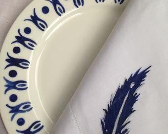 Feather Napkins, Hemstitched Linen, Set of 4