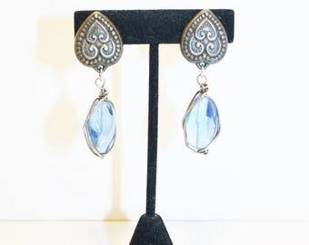 Vintage Blue Glass Earrings Hearts Wire Clip On Boho Something Blue