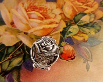 Rose Flower Thumb Ring Sterling Spoon Ring Art Nouveau Anniversary Ring Gift Idea For Her