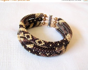 40% SALE Brown bracelet - 3 Strand Bead Crochet Rope Beadwork Bracelet - beaded jewelry - seed beads bracelet - brown creamy ivory