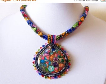15% SALE Beadwork Bead Embroidery Pendant Necklace with Rainbow Sea Jasper and Pyrite - SUMMER JOY - Summer collection - Colorful necklace