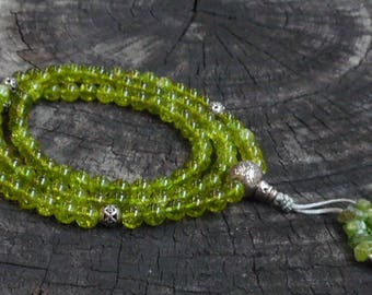 Peridot (108 Bead) Necklace Mala with Sterling Silver