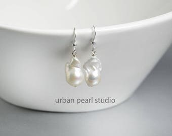 Baroque Pearl Earrings, Flameball Pearl Earrings, Fireball Rare Nucleated Pearls, White Pearl Earrings, Asymmetrical Earrings, FB11