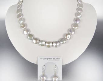 Silver Coin Pearl Necklace Gray Mother of the Bride Jewelry Disc Flat Pearl Necklace