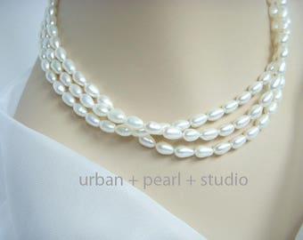 Pearl Necklace Multi Strand Pearl Jewelry Rice Pearl Choker Necklace Gift Under 50 Dollars