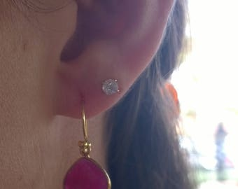 Small Raw Ruby Heart Teardrop Earrings