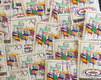 Flags of All Nations Craft Postage Stamps Lot of 20 Antique Vintage
