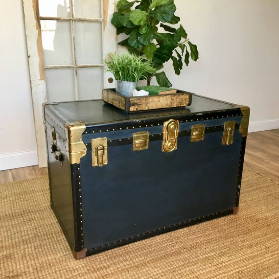 Steamer Trunk Coffee Table - Vintage Trunk - Storage Chest Trunk - Unique Coffee Table, Trunk Side Table, Trunk End Table, Bedroom Furniture